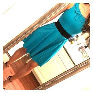 Belted Turquoise Teal A-line skirt Dress